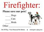 Save our pets/firefighter label