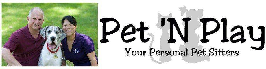 Pet 'N Play logo with owners John and Katy and their dog Ryder